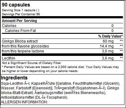 Ginkgo Biloba Plus Lecithin - Biotech USA