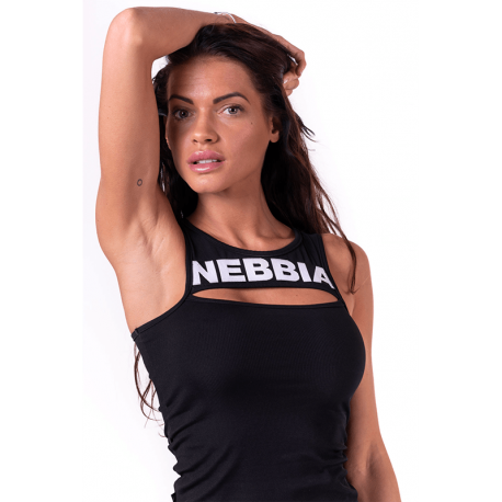 Rib Cut Out Top 678 Black - Nebbia