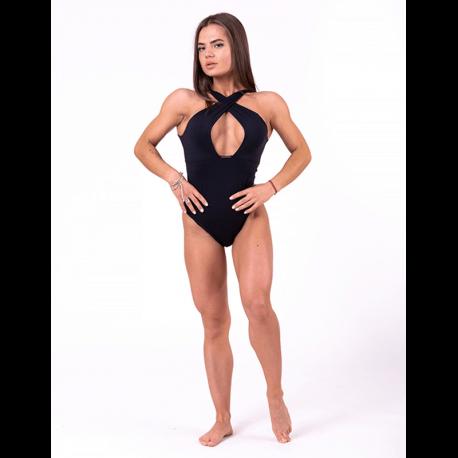 Sexy Monokini mit raffiniertem Ausschnitt 675 Black - Nebbia